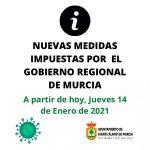 NUEVAS MEDIDAS A PARTIR DEL JUEVES 14/1 HASTA EL 28/1