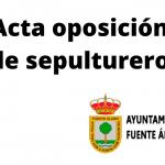 ACTA DE OPOSICIÓN PARA SEPULTURERO